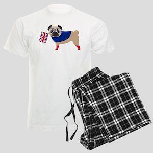 Brit Pug with Union Jack Flag Men's Light Pajamas
