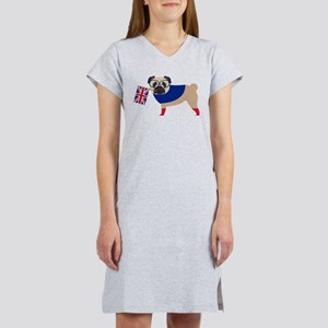 Brit Pug with Union Jack Flag Women's Nightshirt