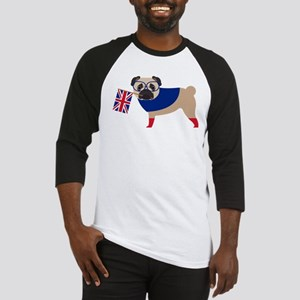 Brit Pug with Union Jack Flag Baseball Jersey