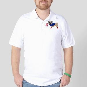 Brit Pug with Union Jack Flag Golf Shirt