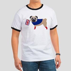 Brit Pug with Union Jack Flag Ringer T