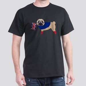 Brit Pug with Union Jack Flag Dark T-Shirt