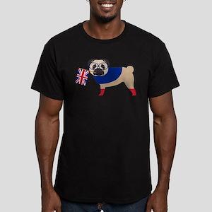 Brit Pug with Union Ja Men's Fitted T-Shirt (dark)