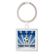 Personalized Soccer Square Keychain