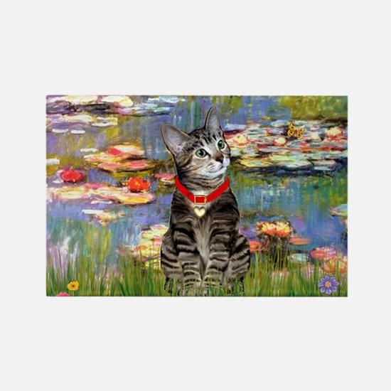 Tabby Tiger Cat in Lilies Rectangle Magnet