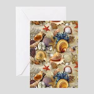 Seashells And Starfish Greeting Cards