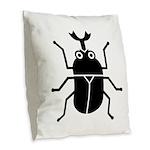 Beetle Burlap Throw Pillow