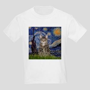 Starry Night & Tiger Cat Kids Light T-Shirt