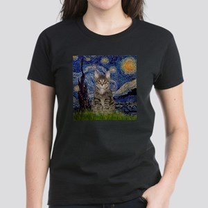 Starry Night & Tiger Cat Women's Dark T-Shirt
