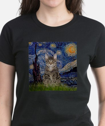 Starry Night & Tiger Cat Women's Dark T-Shirt