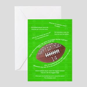 14th birthday, awful football jokes Greeting Cards