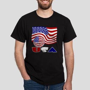 USA Flag and Soccer Ball Dark T-Shirt