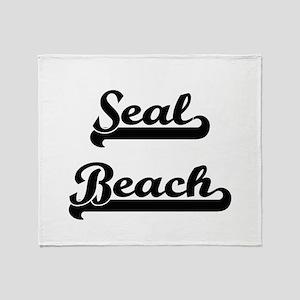 Seal Beach Classic Retro Design Throw Blanket