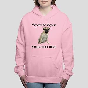 Personalized Pug Dog Women's Hooded Sweatshirt