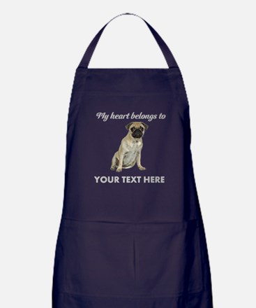 Personalized Pug Dog Apron (dark)