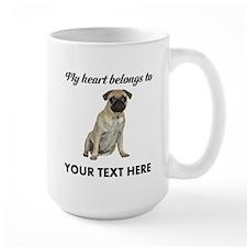 Personalized Pug Dog Large Mug