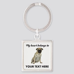Personalized Pug Dog Square Keychain