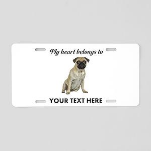Personalized Pug Dog Aluminum License Plate