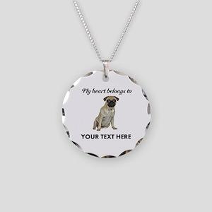 Personalized Pug Dog Necklace Circle Charm