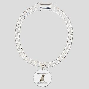 Personalized Pug Dog Charm Bracelet, One Charm