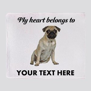 Personalized Pug Dog Throw Blanket