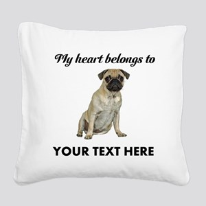Personalized Pug Dog Square Canvas Pillow