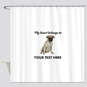 Personalized Pug Dog Shower Curtain