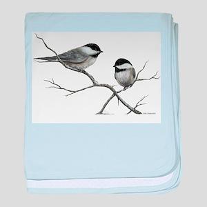 chickadee song bird baby blanket