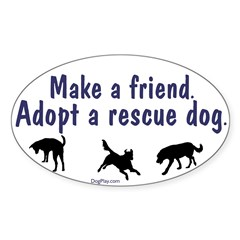 Adopt A Rescue Dog Oval Decal
