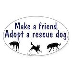 Adopt A Rescue Dog Oval Sticker