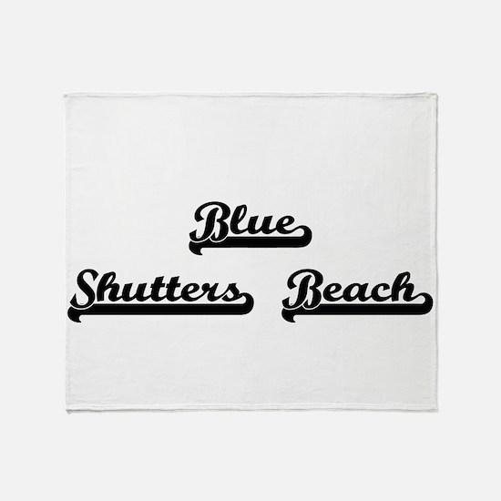 Blue Shutters Beach Classic Retro De Throw Blanket