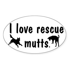 I Love Rescue Mutts Oval Decal