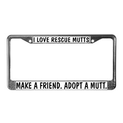 I Love Rescue Mutts License Plate Frame
