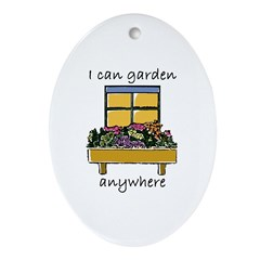 I Can Garden Anywhere Oval Ornament