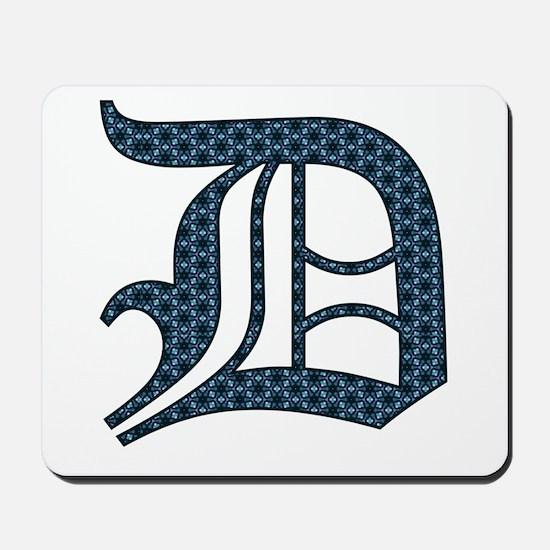D letter monogram Old english text Mousepad