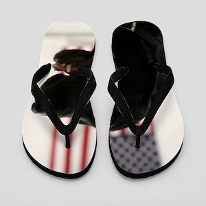 All-American Black Labrador Retriever Flip Flops