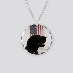 All-American Black Labrador Necklace Circle Charm