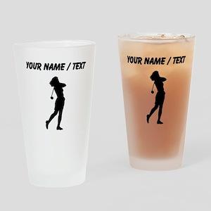 Woman Golfer (Custom) Drinking Glass