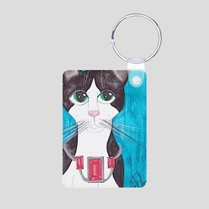 Tuxedo Cat art Aluminum Photo Keychain