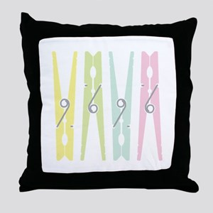 Laundry Clothespins Throw Pillow