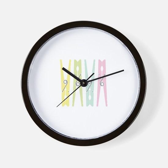 Laundry Clothespins Wall Clock