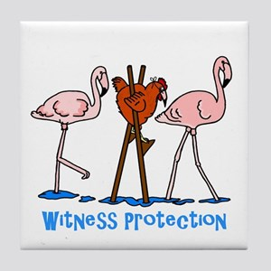 Witness Protection Flamingos and Chic Tile Coaster