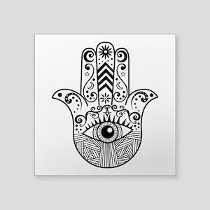 "Hamsa Hand - Black Square Sticker 3"" x 3"""