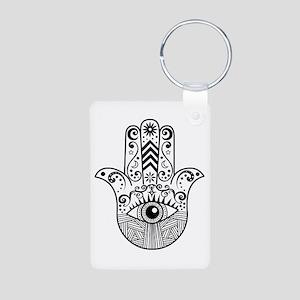 Hamsa Hand - Black Aluminum Photo Keychain