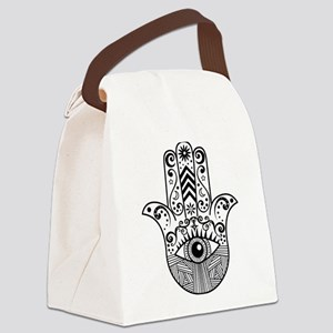 Hamsa Hand - Black Canvas Lunch Bag