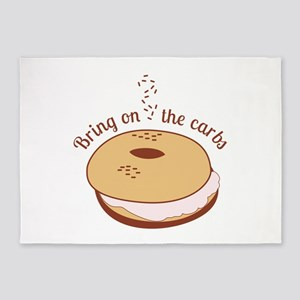 Bring on the carbs bagel 5'x7'Area Rug