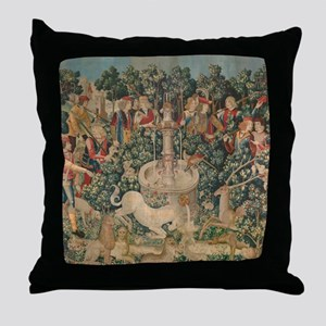 The Unicorn is Captured Throw Pillow