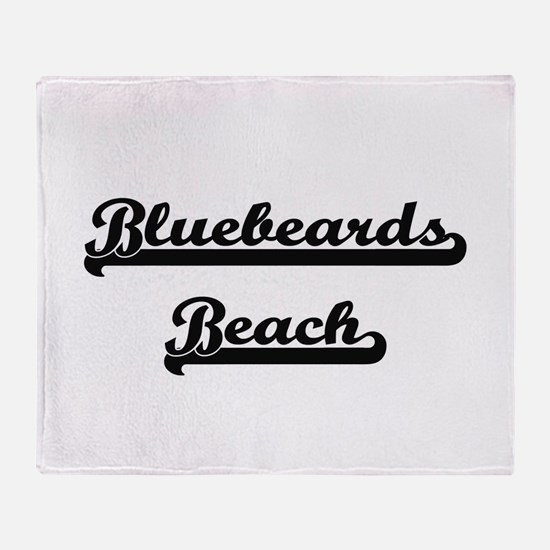 Bluebeards Beach Classic Retro Desig Throw Blanket