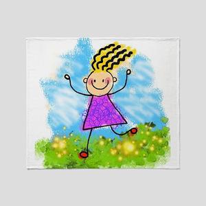 Happy Cartoon Girl Throw Blanket