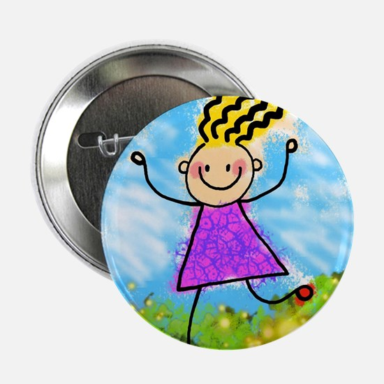 "Happy Cartoon Girl 2.25"" Button (100 pack)"